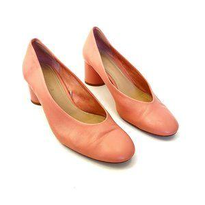 Zara Woman Pink Round Toe Leather Pumps Round Heel